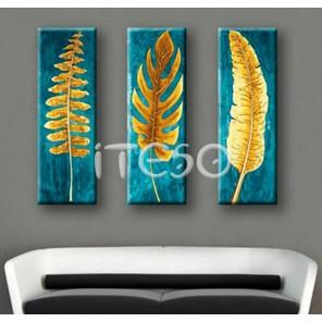 Золотые листья папоротника Раскраска по номерам акриловыми красками на холсте Iteso
