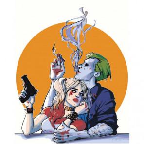 Харли Квинн и Джокер 100х125 Раскраска картина по номерам на холсте