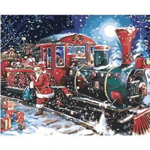 Новогодний поезд и Санта-Клаус Раскраска картина по номерам на холсте