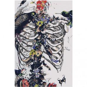 Скелет, бaбочки, цвeты Раскраска картина по номерам на холсте
