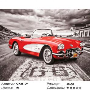 Сложность и количество цветов Ретро-спорткар Раскраска картина по номерам на холсте GX28109