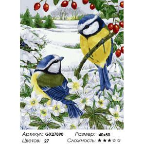 Зимние синички Раскраска картина по номерам на холсте GX27890