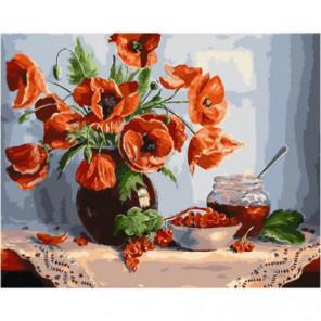 Маки и варенье Раскраска картина по номерам на холсте
