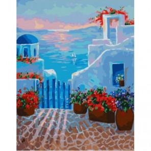 Теплый греческий закат Раскраска картина по номерам на холсте