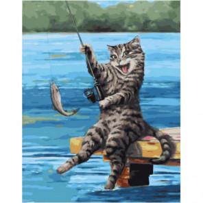 Кот-рыбак Раскраска картина по номерам на холсте