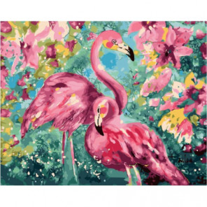 Фламинго в цветах Раскраска картина по номерам на холсте