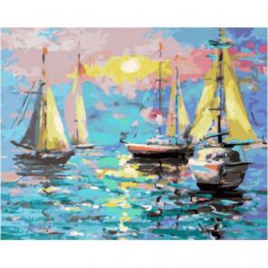 Парусные яхты Раскраска картина по номерам на холсте