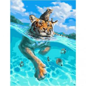 Путешествие кота и тигра Раскраска картина по номерам на холсте