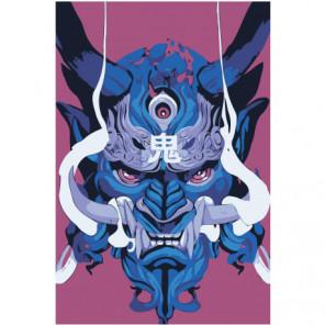 Японская маска демона 80х120 Раскраска картина по номерам на холсте