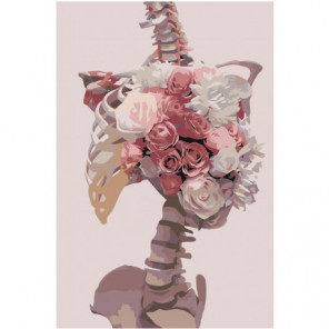 Скелет и розы Раскраска картина по номерам на холсте