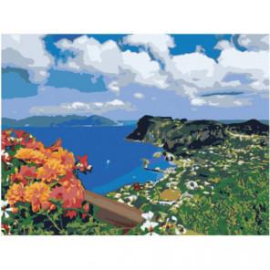 Цветы на берегу морской бухты Раскраска картина по номерам на холсте