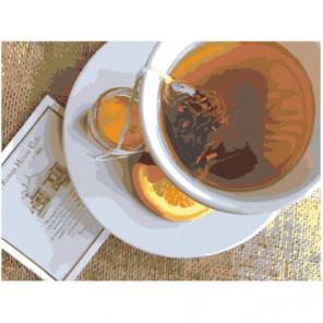 Чай с лимоном 75х100 Раскраска картина по номерам на холсте