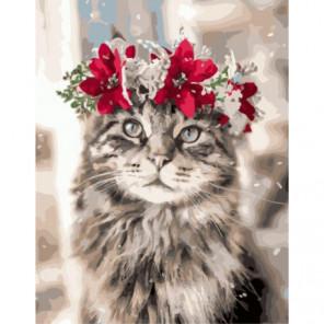Новогодний кот Раскраска картина по номерам на холсте