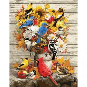 Цветное ассорти и лесные птахи Раскраска картина по номерам на холсте