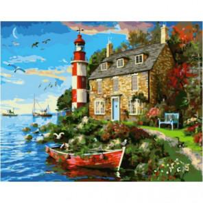 Дом смотрителя маяка Раскраска картина по номерам на холсте