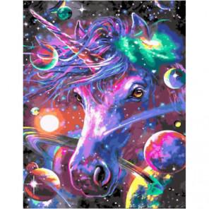 Космический единорог Раскраска картина по номерам на холсте