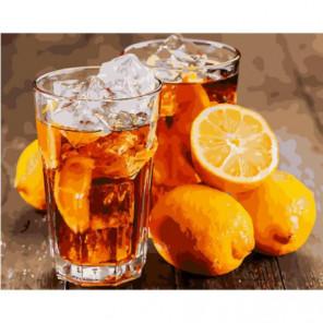 Холодный чай с лимоном Раскраска картина по номерам на холсте