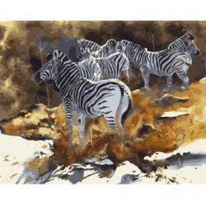 Акварельные зебры Раскраска картина по номерам на холсте
