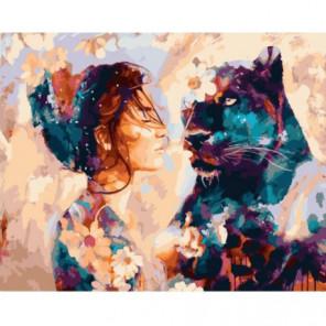 Девушка и пантера Раскраска картина по номерам на холсте
