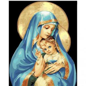 Богородица в лазурном одеянии Раскраска картина по номерам на холсте