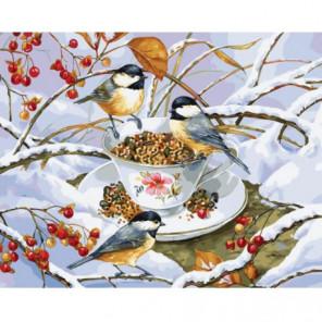 Снегири и рябина Раскраска картина по номерам на холсте