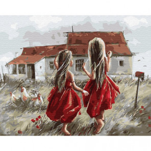Две босоногие девочки Раскраска картина по номерам на холсте