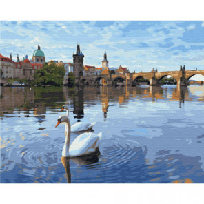 Лебеди в Праге Раскраска картина по номерам на холсте