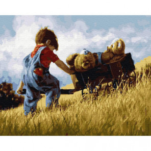Мальчик с тачкой мишек Раскраска картина по номерам на холсте