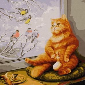 Внешний вид коробки упаковки Рыжий кот Раскраска картина по номерам на холсте KH0441