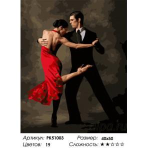 Сложность и количество цветов Изящное танго Раскраска картина по номерам на холсте PK51003
