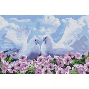 Голуби в цветах Раскраска картина по номерам на холсте