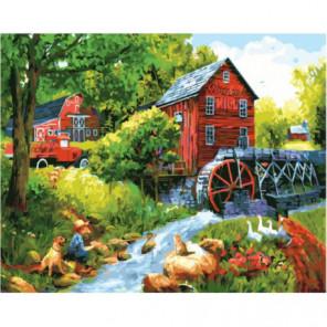 Водяная мельница в деревне Раскраска картина по номерам на холсте