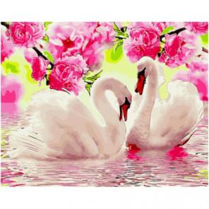 Лебеди под цветущими ветками Раскраска картина по номерам на холсте