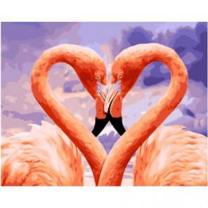 Влюбленные фламинго Раскраска картина по номерам на холсте