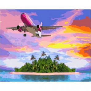Полет над островом Раскраска картина по номерам на холсте