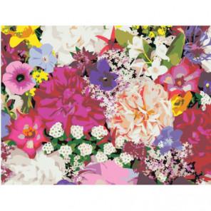 Пестрый букет цветов Раскраска картина по номерам на холсте