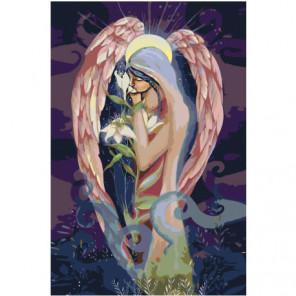 Ангел с цветком 80х120 Раскраска картина по номерам на холсте