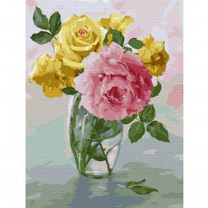 Пионы и розы. Бузин Раскраска картина по номерам на холсте KK0660