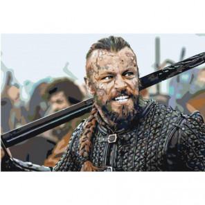 Викинг с мечом 80х120 Раскраска картина по номерам на холсте