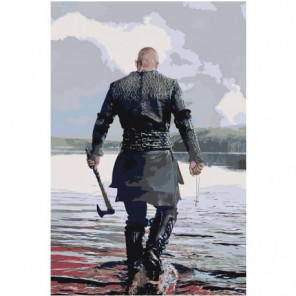 Викинг с топором 80х120 Раскраска картина по номерам на холсте