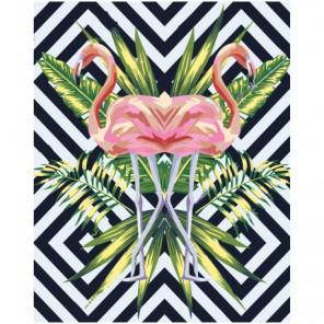 Фламинго и тропические листья Раскраска картина по номерам на холсте