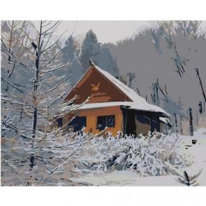 Домик в заснеженном лесу Раскраска картина по номерам на холсте