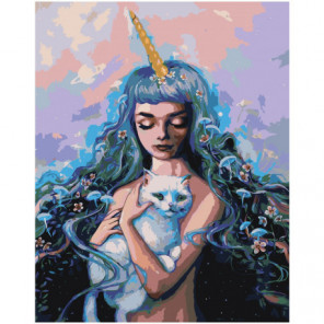 Девушка фэнтези с белым котом 80х100 Раскраска картина по номерам на холсте