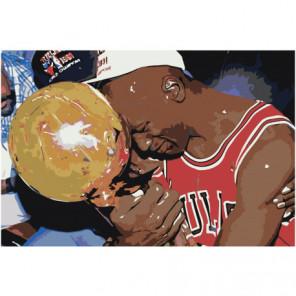 Майкл Джордан чемпион 80х120 Раскраска картина по номерам на холсте