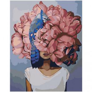 Розовая цветочная голова девушки с птицей Раскраска картина по номерам на холсте