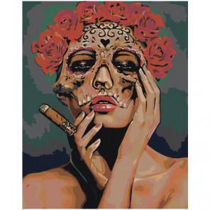 Девушка в маске с розами Раскраска картина по номерам на холсте