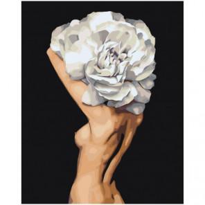 Цветочная голова обнаженной девушки 80х100 Раскраска картина по номерам на холсте