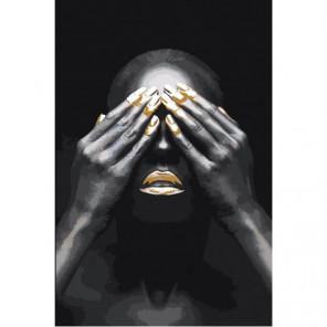 Африканская женщина с закрытыми глазами Раскраска картина по номерам на холсте