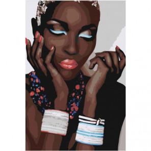 Африканка с браслетами 80х120 Раскраска картина по номерам на холсте