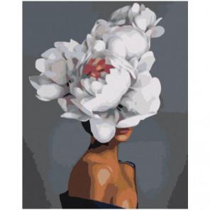 Цветочная голова с красной сердцевиной 80х100 Раскраска картина по номерам на холсте